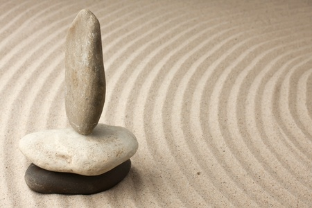 Meditation spa garden pattern of sand and stones with curved lines for balance and relaxation zen buddhism