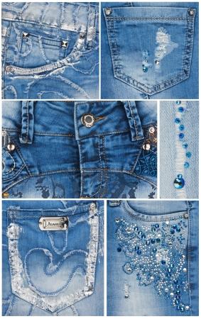 Fashion light blue jeans pockets, jeans, rivets, rhinestones