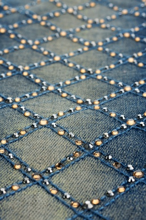 rhinestones: closeup shallow depth of field  jeans with rhinestones
