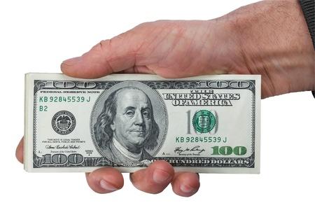 keeps: Mans hand keeps money, isolated on white background