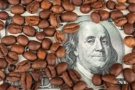 The coffee beans are one hundred dollars, as a background photo