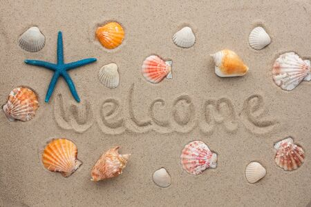 Word welcome written on the sand as the background photo