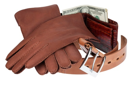 wallet,money, belt and gloves isolated on white background photo