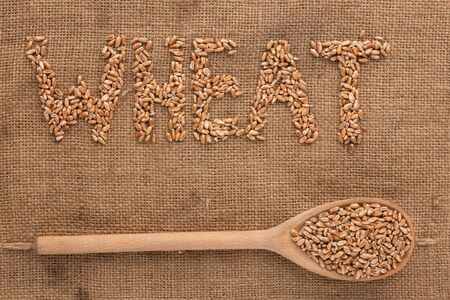 Inscription wheat with a wooden spoon on burlap can be used as background photo