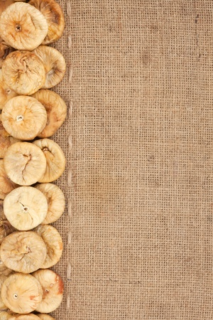 Line,dried figs and burlap for the menu, can be used as background photo