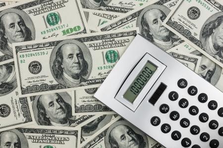 Calculator and dollars  closeup. Business concept