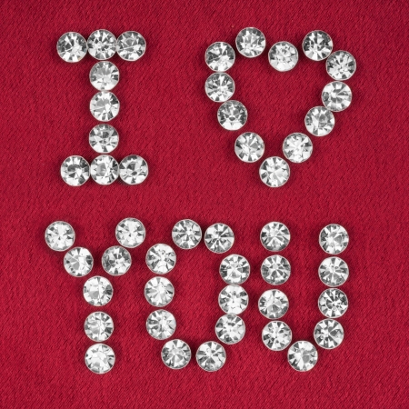 The word I love you made by ​​with rhinestones, can be used as background photo