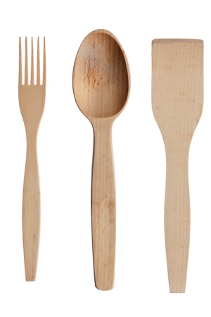 Wooden spoon,fork, shovel , isolated on a white background