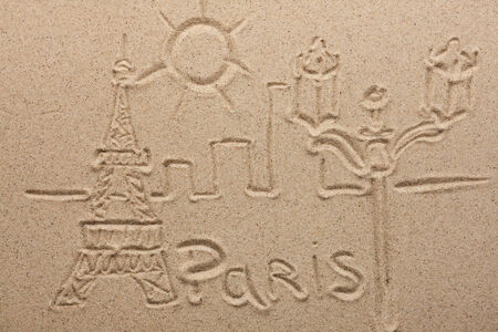 Paris painted by in the sand, can be used as background photo