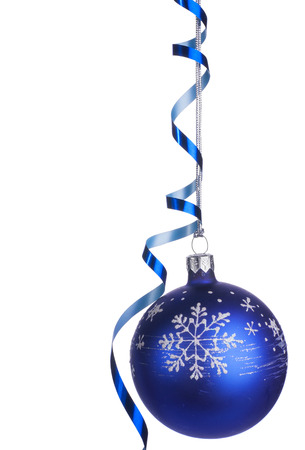 blue backgrounds: Christmas ball with ribbon and snowflake, isolated on white background