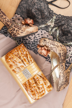 Lingerie, bag  and shoes lying on the laminate photo