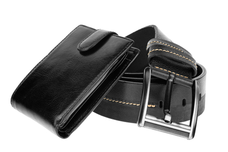 Mens wallet and  belt , isolated on white background