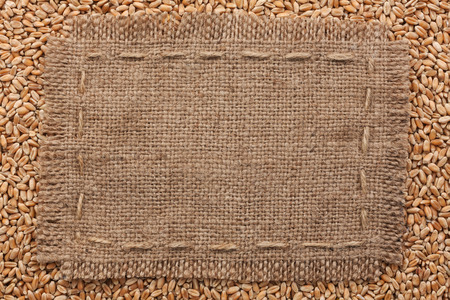 Frame of burlap  lying on a wheat  background, with place for your text photo