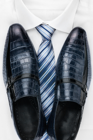 Classic mens shoes, tie and  white shirt, can be used as background photo