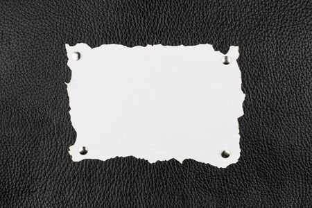 burnt paper: Old burnt paper pinned  buttons to black leather,as background Stock Photo