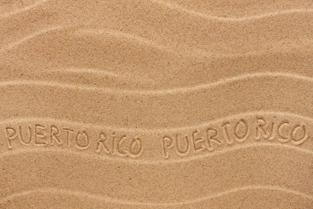 puerto rico: Puerto Rico inscription on the wavy sand,