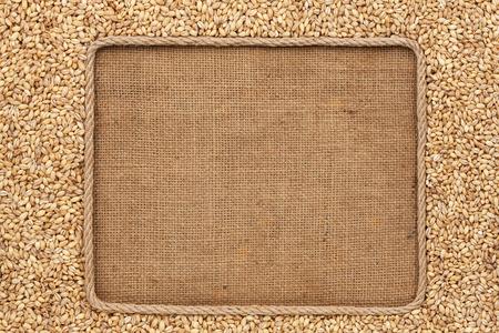 barley: Capítulo hecho de cuerda con granos de cebada perla en cilicio