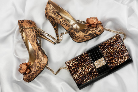 pies sexis: Bolso y los zapatos Leopardo que miente en la tela blanca, se puede utilizar como fondo Foto de archivo