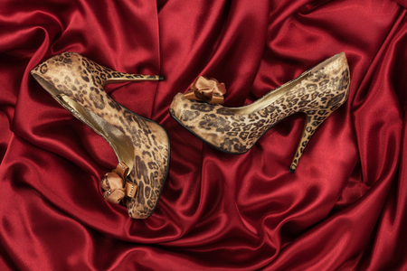 animal sexy: High-heeled shoes  lying on red  fabric, can use as background