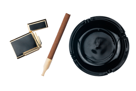cigarette lighter: Ashtray with cigar and gold cigarette lighter, isolated on white background