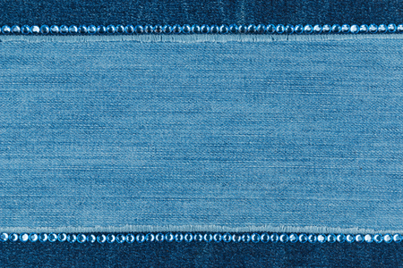 strass: Fashionable  texture,  jeans and blue  rhinestones, with space for your text