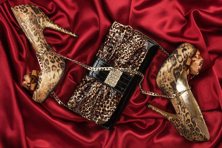 pies sexis: Leopard bag and shoes  lying on red  fabric, can use as background