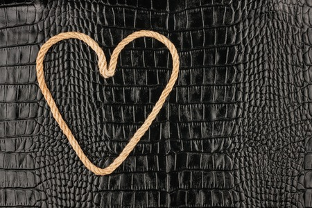 symbolic: Symbolic heart made of rope lying on a crocodile leather , as background