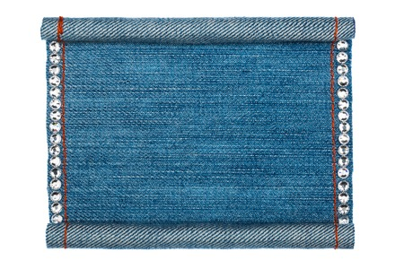 lacerated: Denim frame folded in the form of manuscripts, on a white background, with space for your text