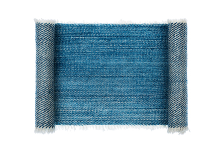 furled: Denim frame folded in the form of manuscripts, on a white background, with space for your text
