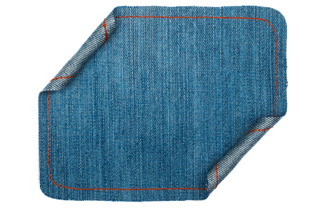 coiled rope: Denim frame folded in the form of manuscripts, on a white background, with space for your text