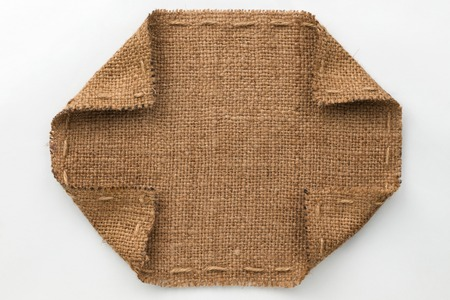 furl: Frame with burlap wrapped edges on a white background
