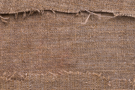 torn edges: Natural burlap texture with torn edges with space for text, top view Stock Photo