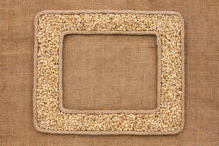 pearl barley: Two frame made of rope with pearl barley on sackcloth, with place for your text