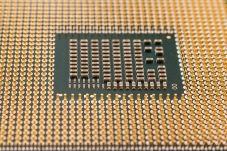 chip and pin: Geometry electronics, closeup of CPU Processor Chip, view from the bottom side, pin connectors, as a background, texture Stock Photo