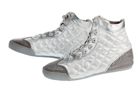 gym shoes: Silver sports gym shoes in rhinestones, isolated on a white background