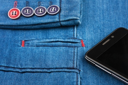 denim jacket: Texture denim jacket with pocket and sleeves and mobile phone, with space for your text