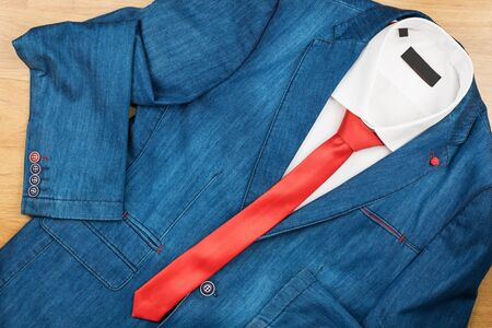 denim jacket: Denim jacket, white shirt and red tie, mens fashion, with space for your text
