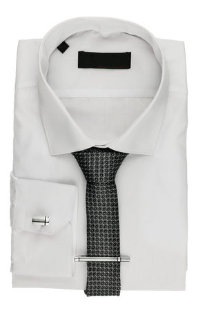 Folded white shirt with a tie and cufflinks, isolated on white background Stock Photo