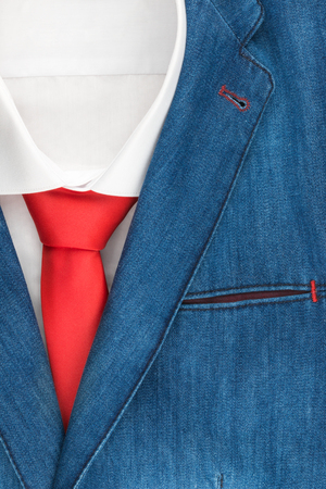 Classic denim suit, shirt and tie, close-up, top view