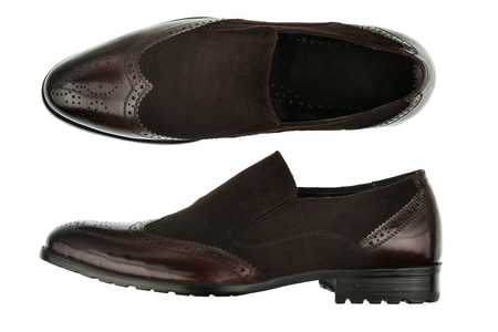 Classic male brown leather shoes isolated on a white. Top view. Side view