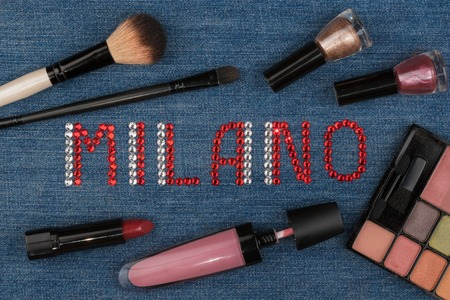 diamond letters: Milan. Word inlaid rhinestones and cosmetics.