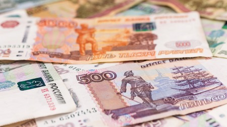 Close-up of Russian rubles, money background. Finance
