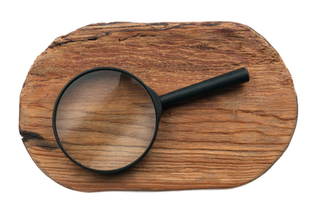 Study of wood texture through a magnifying glass, isolated on a white background