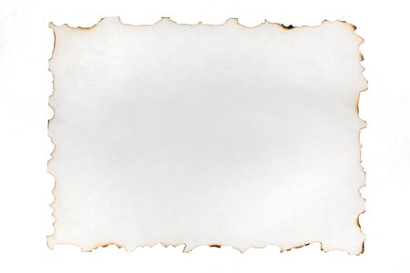Burned edges of a sheet of paper, isolated on white. Use as a frame. Top view Stock Photo