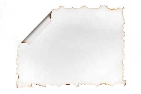 Burnt edges of paper with curled edge, isolated on white. Use as a frame. Top view