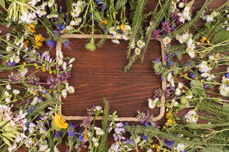 Wildflowers and rope on a wooden background. View from above. Spring landscape with flowering flowers Banco de Imagens
