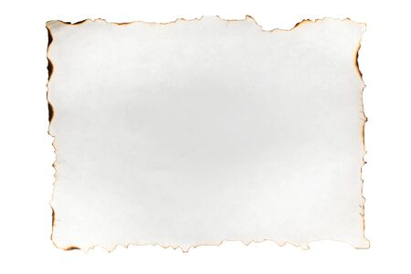 Empty paper sheet with charred edges. Isolated on white. View from above. Empty space for text
