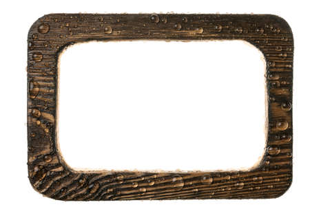 Wooden frame with dew drops. Isolated on white background
