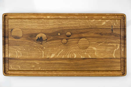 Natural texture of oak. Oak plank with wood inserts instead of knots. Top view Banco de Imagens