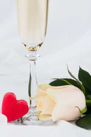 Wedding background, heart, champagne and rose. Copy space